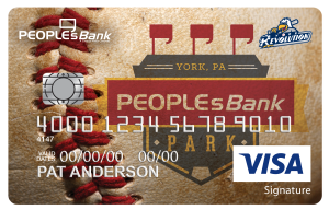 Peoplesbank park visa with baseball background