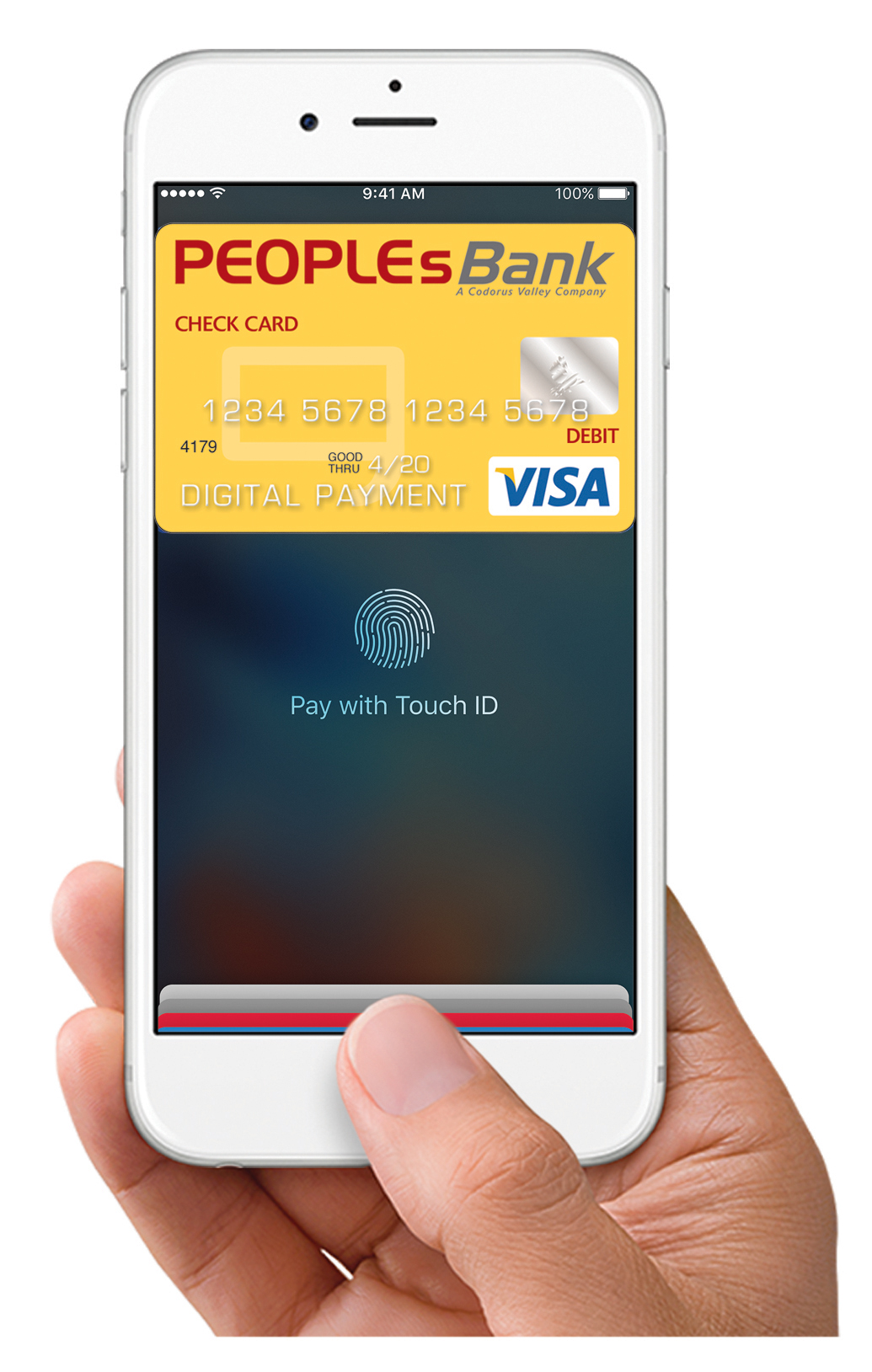 now you can enjoy all the benefits of your peoplesbank visa debit card using apple pay - Visa Payroll Card